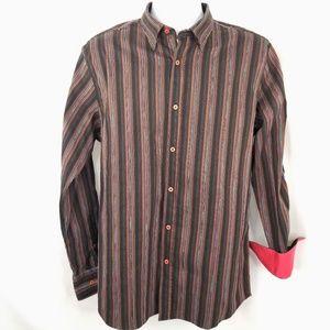 Visconti Brown Striped Blue Raised Stitch Shirt